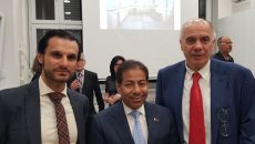 Prof. dr Nebojša Popović, Njegova ekselencija Ambasador Katara Mubarak bin Fahad Al Tani, dr Omar Al Sayrafi
